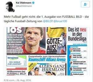 Diekmanns Twitter-Feed zum FUSSBALL BILD-Teststart